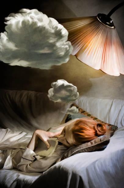 dreaming woman - sleeping illustration stockfoto's en -beelden