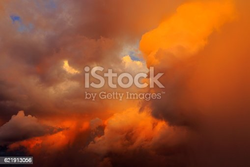 istock Dreamlike Sky clouds heaven: Dramatic cloudscape storm impressive sunset 621913056