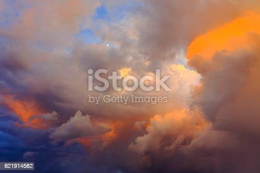 istock Dreamlike Sky clouds heaven: Dramatic cloudscape storm impressive sunset 621914582