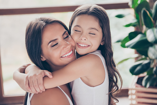 istock Dreams come true! My dear mummy is here and she'll never leave me alone! Close up photo of cute tender mother and her preteen daughter, they are hugging and were waiting for meeting for a long time 925831822