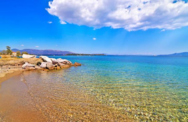 Dreams island beach at Eretria Euboea Greece stock photo