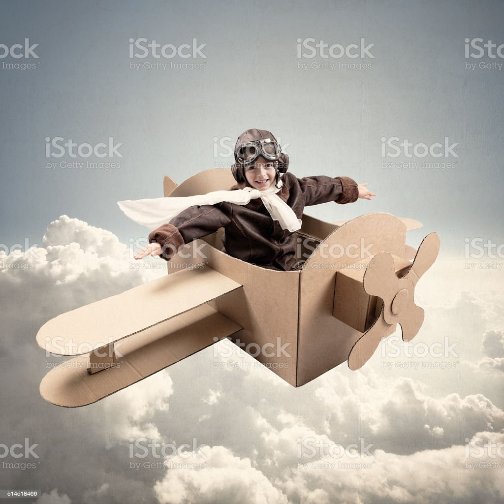 Dreams of being a pilot stock photo