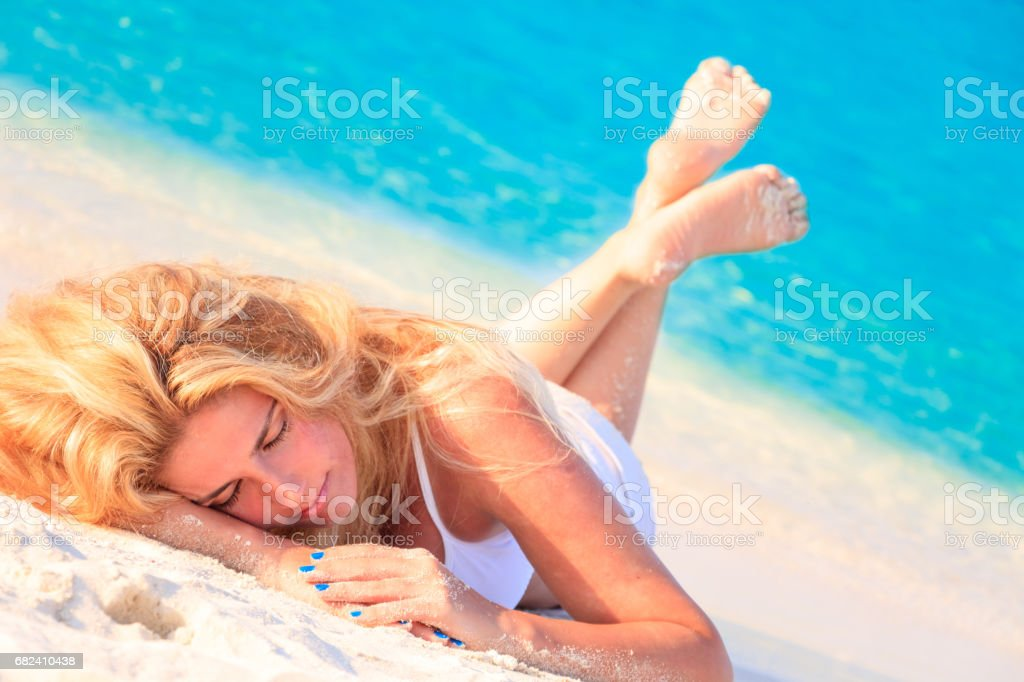 Dreamscape Escape with beauty girl on Maldives royalty-free stock photo