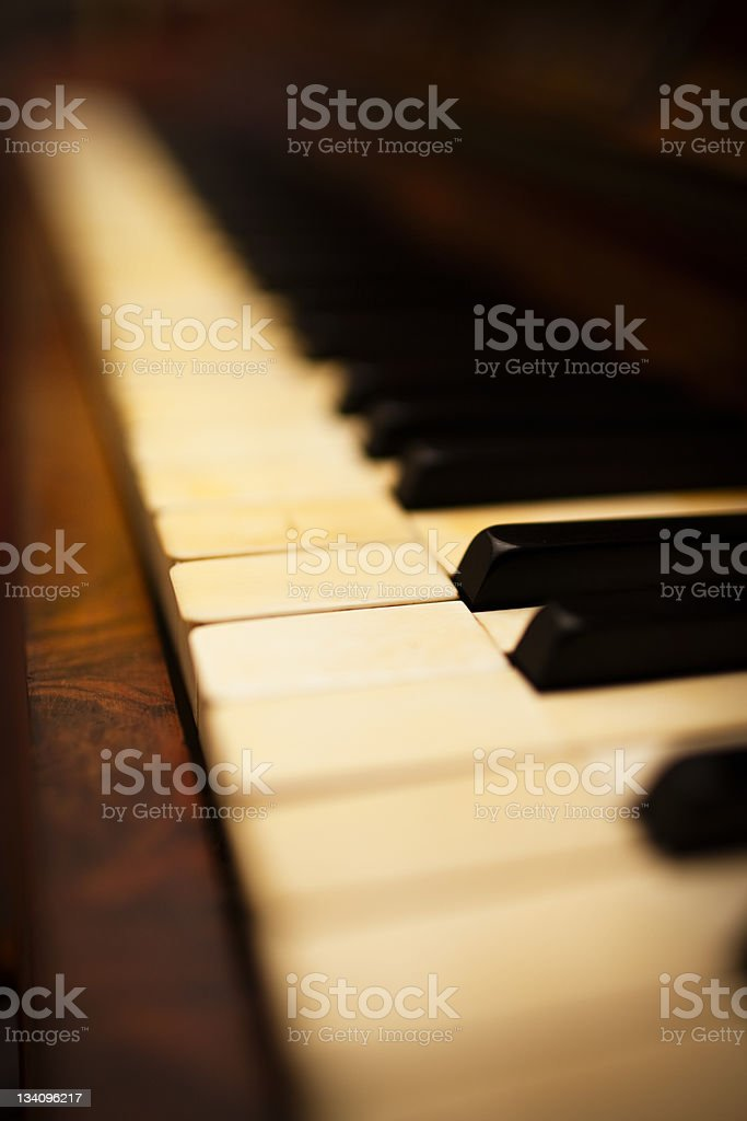 Detail of an antique German piano with real ivory and ebony keys and...