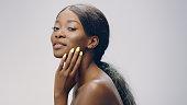 Beautiful, seductive woman face skin care. Close up