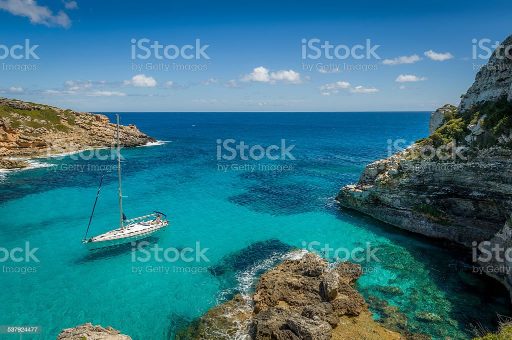 Dreamy bay seascape stock photo