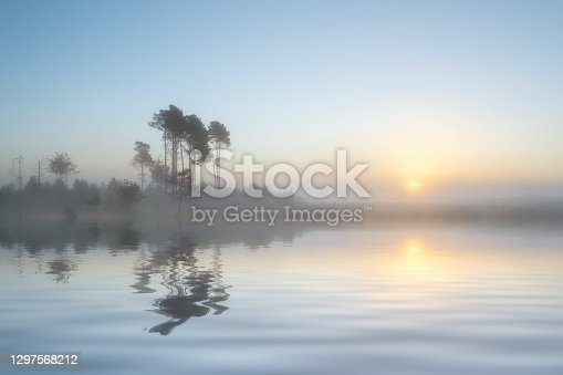 Mist rises over gently rippled water at dawn. Trees on the far side are reflected in the water's surface.