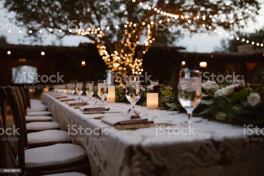 A Dreamy Outdoor Dinner Setting stock photo