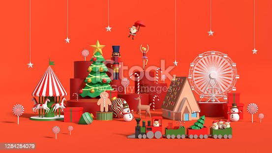 Dreamy scene wooden toys concept with objects that belong to Christmas against red Background. New year, Christmas and Chinese New Year concept. Easy to crop for all your social media or print sizes.