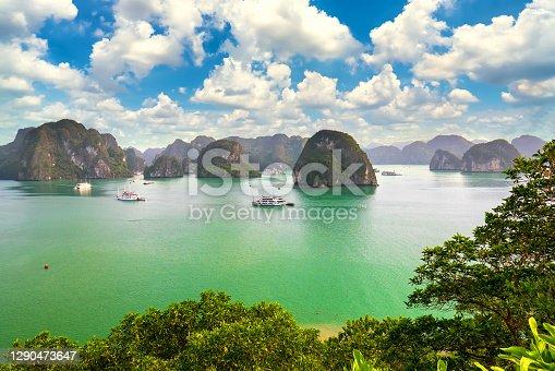 istock Dreamy scenic among the rocks of Halong Bay 1290473647