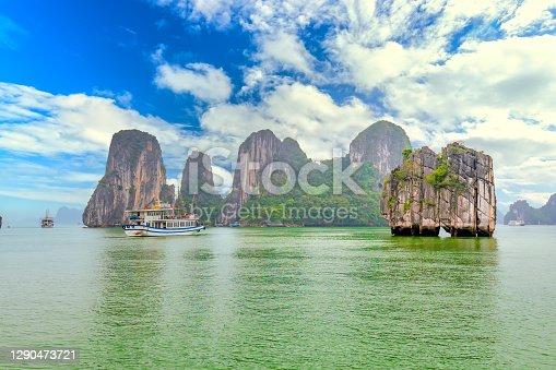 istock Dreamy scenic among the rocks of Halong Bay 1290473721