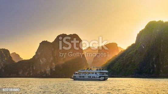 istock Dreamy sunset among the rocks of Halong Bay, Vietnam 622184680