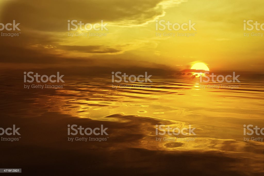 Dreamy Sunset Over Shining Sea of Water royalty-free stock photo