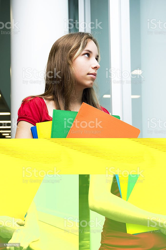 Dreamy Teenager Looking Outdoors royalty-free stock photo