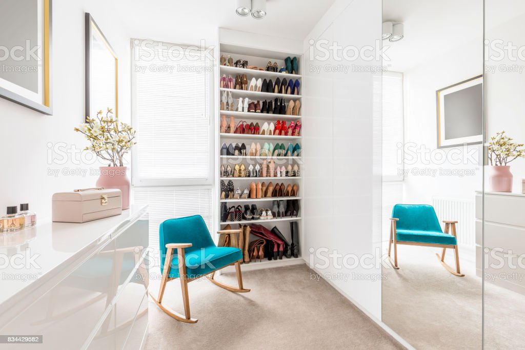 Dreamy wardrobe with shoe closet stock photo