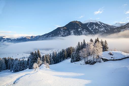 Dreamy winter landscape in Austrian Alps near Salzburg, Austria Europe