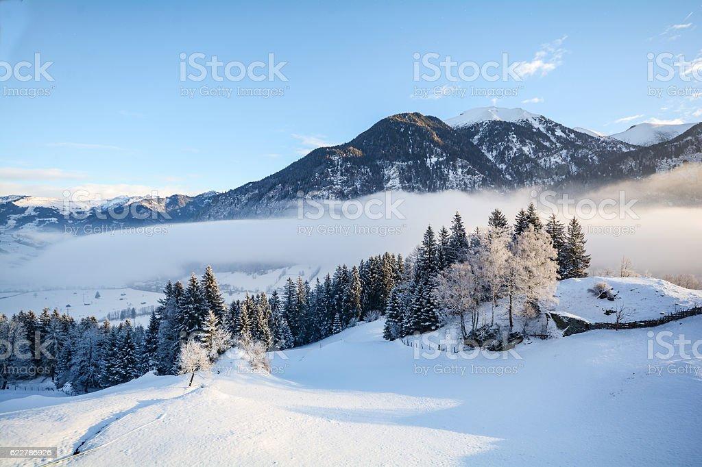 Dreamy winter landscape in Austrian Alps near Salzburg, Austria Europe stock photo