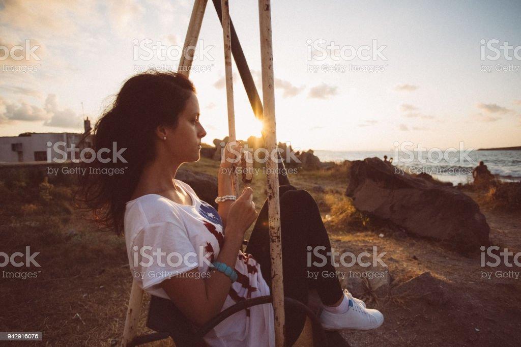 Dreamy woman on sunset stock photo