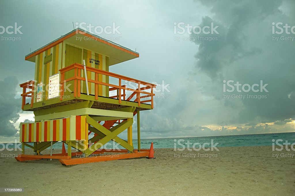 Dreary morning at a Miami Lifegaurd Stand royalty-free stock photo