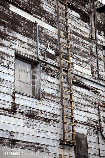 Weathered, peeling, ancient wood waterfront warehouse with yellowed, crumbling sidewall ladder. Vertical.