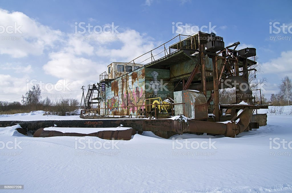 Dredge in winter. royalty-free stock photo