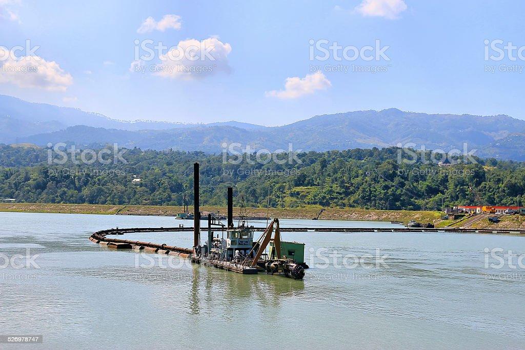 dredge vessel stock photo