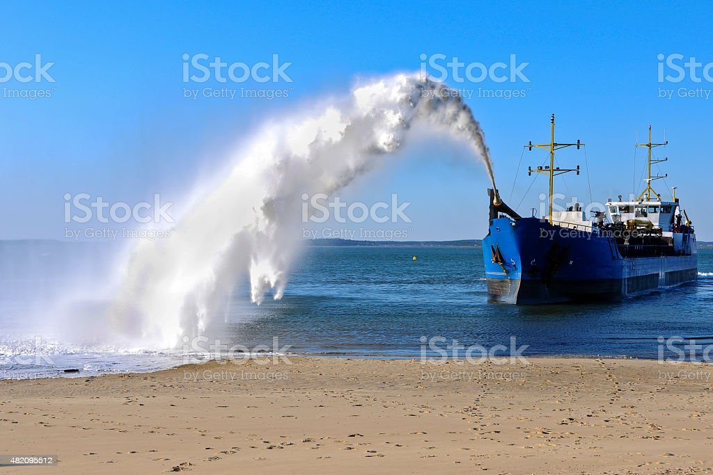 Dredger near Archachon in France stock photo