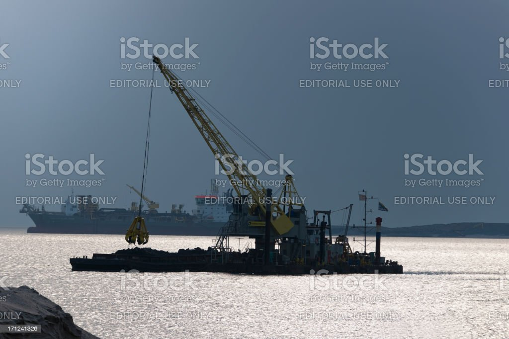 dredgers at work near the port of Rotterdam - Royalty-free Activiteit Stockfoto