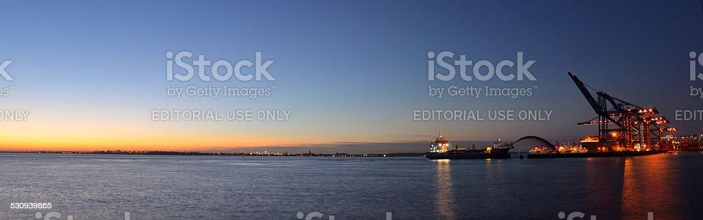 Dredging at Felixstowe Docks at Night stock photo