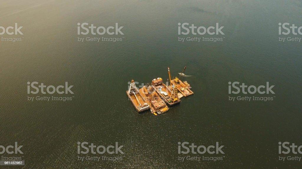 Dredging platform on the sea. Philippines, Manila stock photo