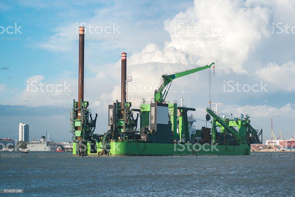 Dredging platform on the sea stock photo