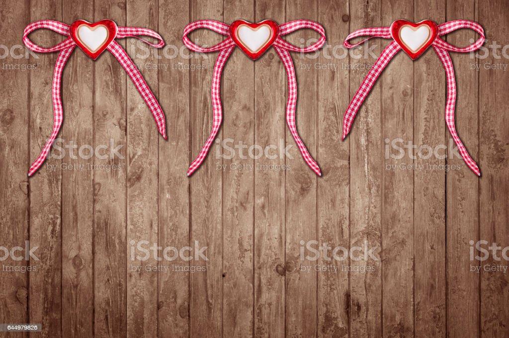 Drei Herzen mit Schleife stock photo