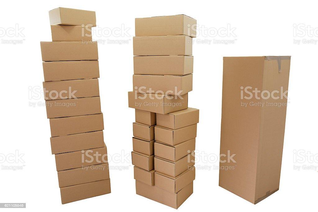 Drei Kartonstapel stock photo
