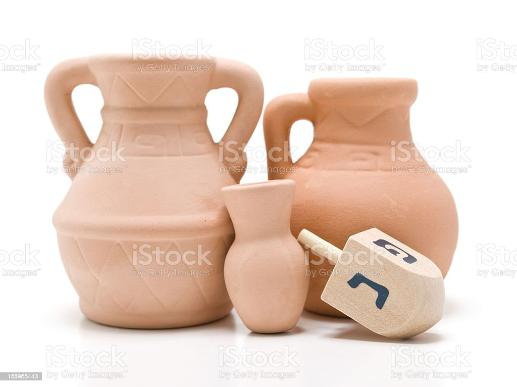 Dreidel and Oil Jug royalty-free stock photo