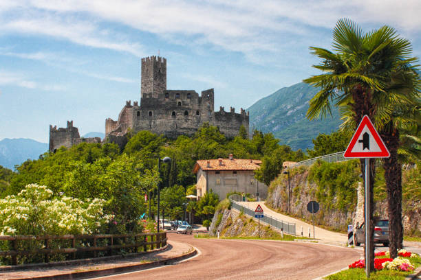 Drena, Italy - castle stock photo