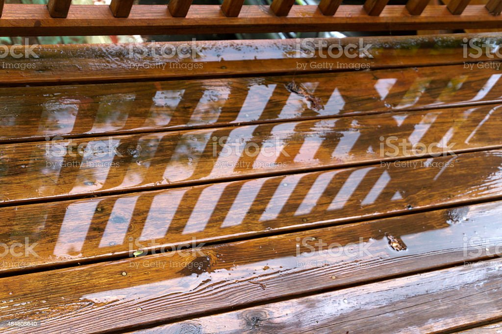 Drenched Deck Boards stock photo