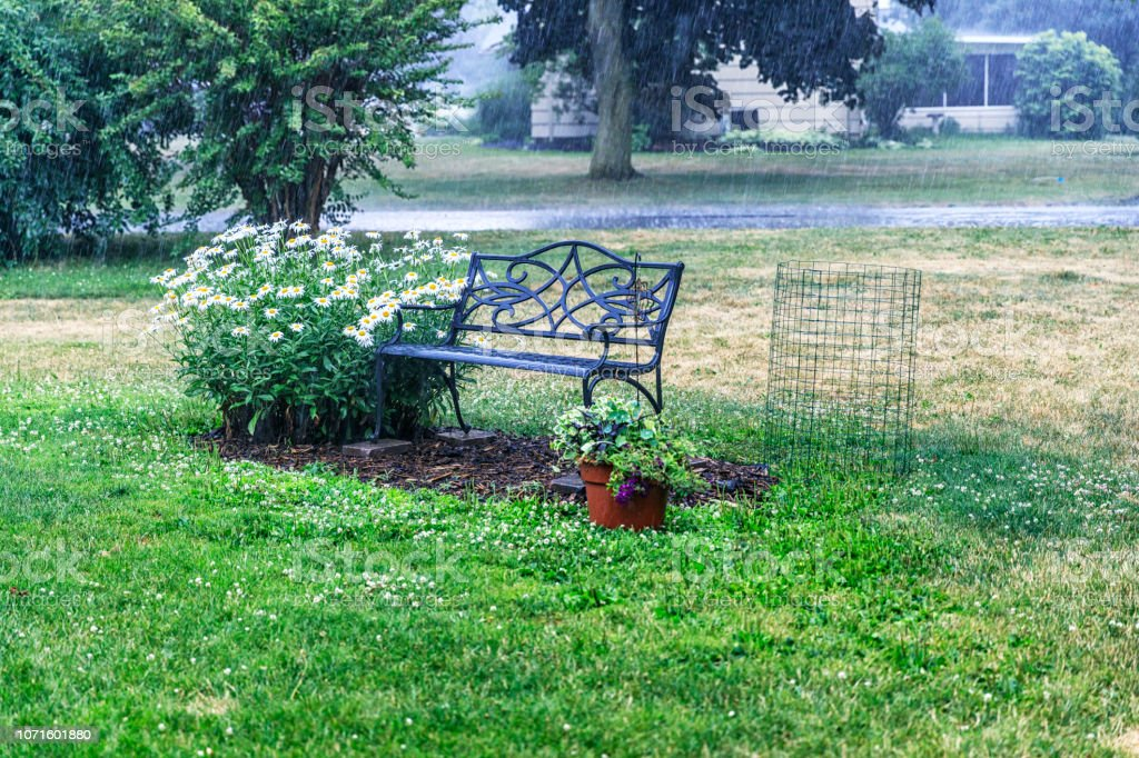 Fabulous Drenching Torrential Rain Storm Water Garden Bench And Cjindustries Chair Design For Home Cjindustriesco
