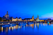 Cityscape at night with Frauenkirche church, Dresden Cathedral and Dresden Castle, Elbe river, historic centre, Dresden, Saxony, Germany, Europe