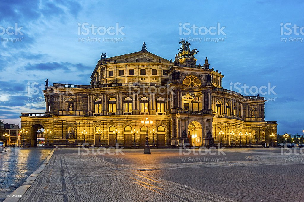Dresden at night. Semper opera. stock photo