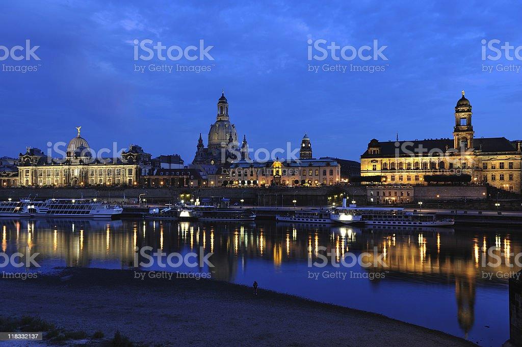 Dresden Brühl Terrace Brühlsche Terrasse View Augustus Bridge Twilight stock photo
