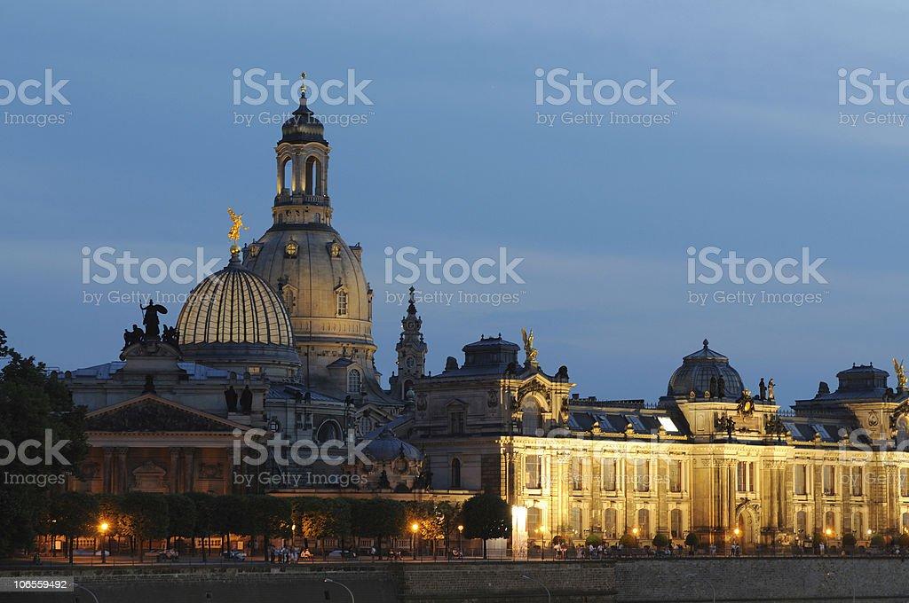 Dresden Brühl`s Promenade with Art Academy and Church stock photo