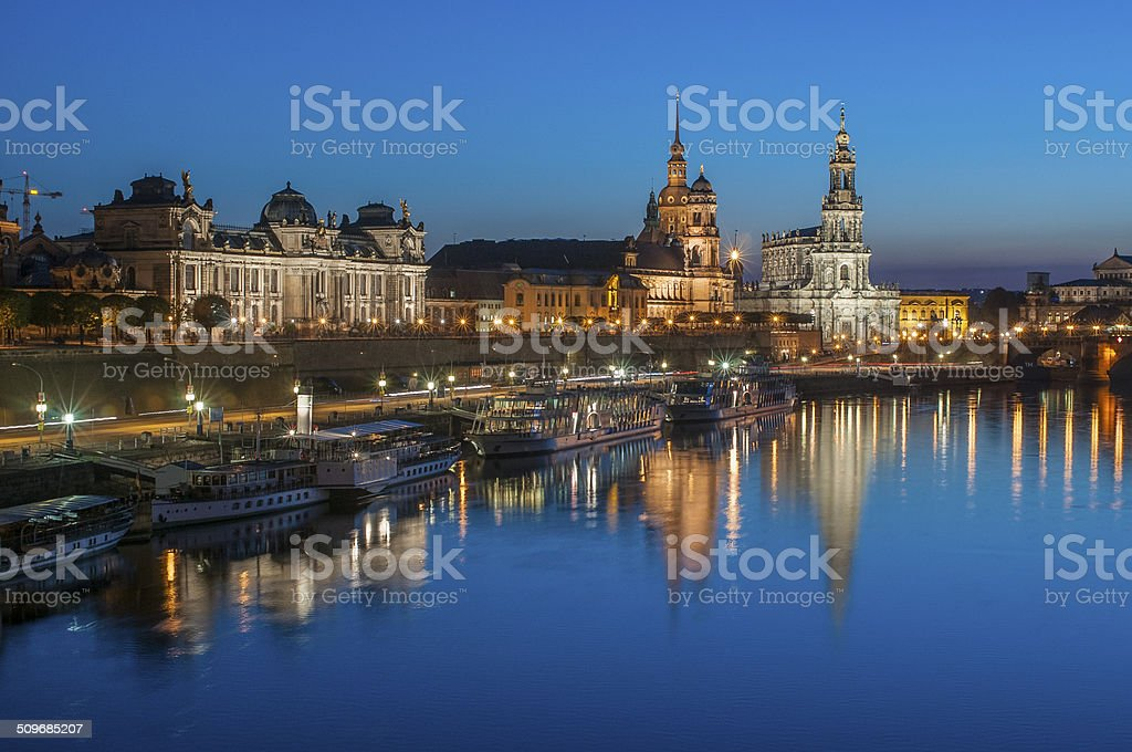 Dresden Bruehl Terrace, Evening Reflections in Elbe River, Germany stock photo