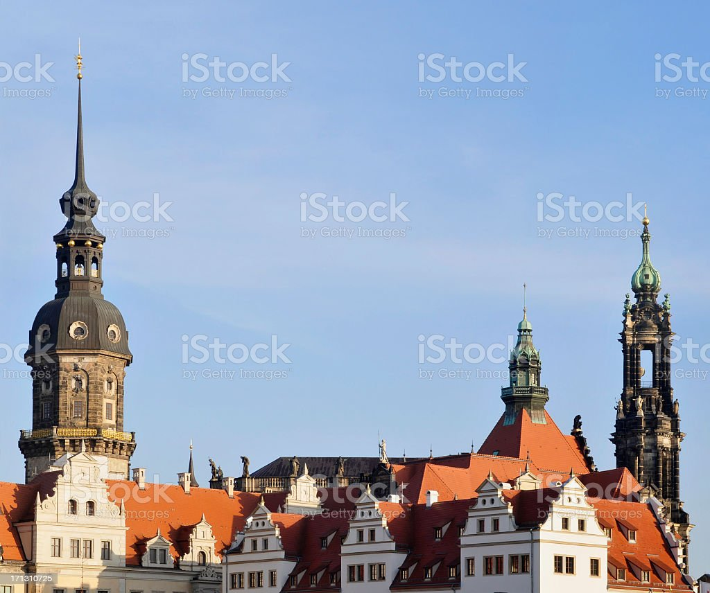 Dresden - castle and cathedrale stock photo