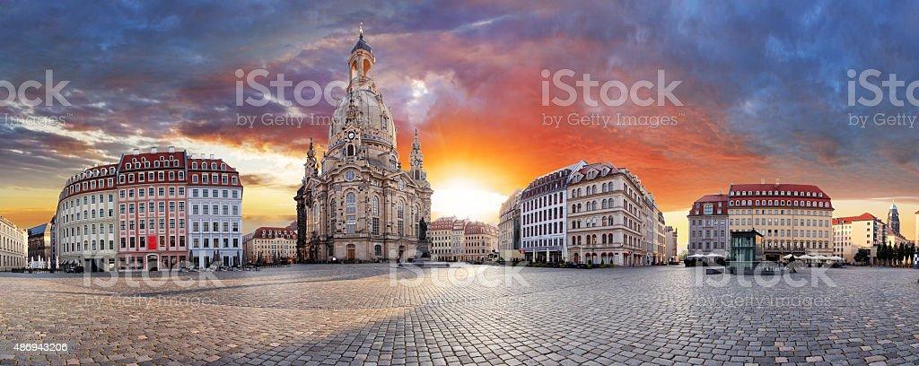 Dresden, Dramatic sunset over Frauenkirche - panorama stock photo