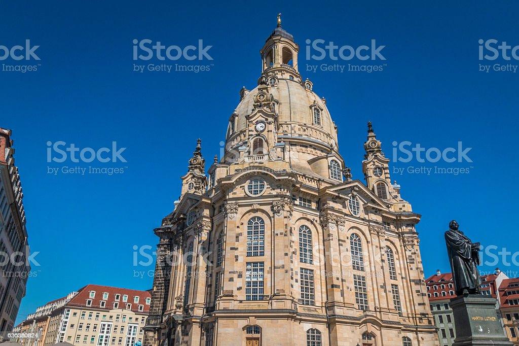 Dresden Frauenkirche church stock photo