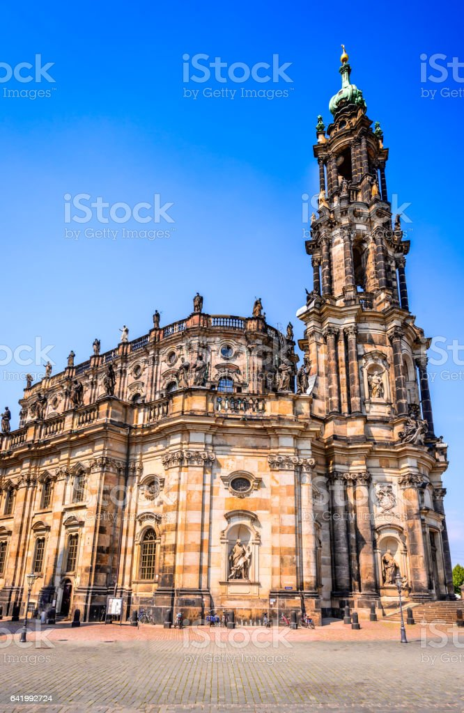 Dresden, Germany - Hofkirche Dresden, Germany. Cathedral of the Holy Trinity, Hofkirche in Dresda, Saxony. Ancient Stock Photo