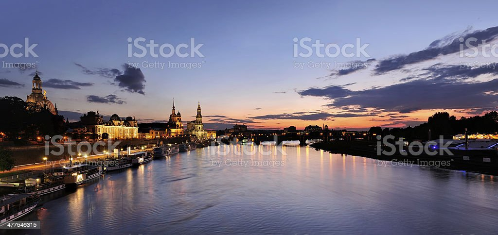 Dresden on the Elbe river at evening stock photo