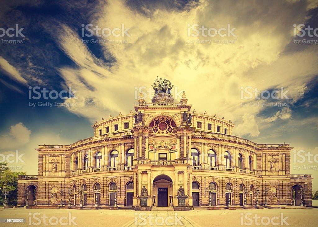 Dresden opera theater, Germany, retro vintage effect. stock photo