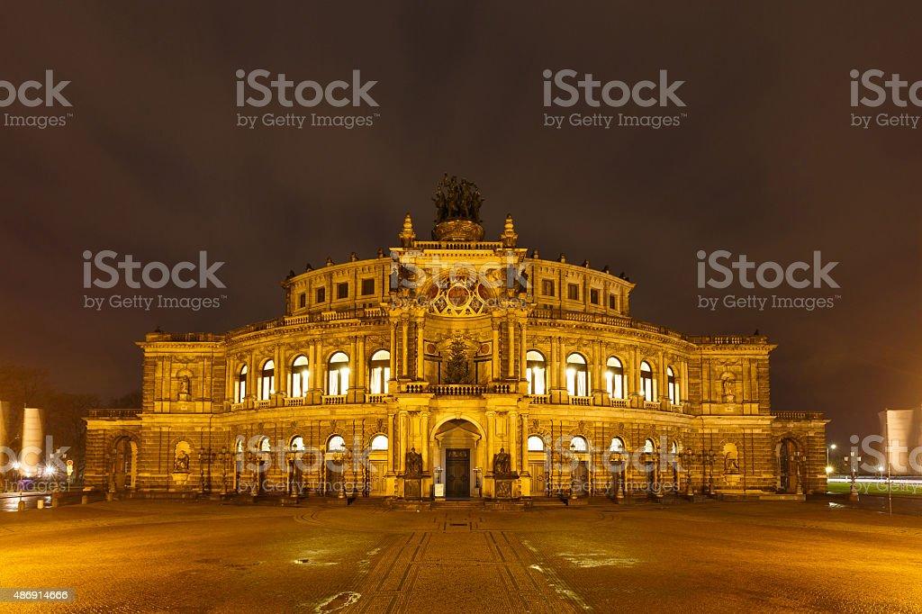 Dresden Opera Theatre at night stock photo
