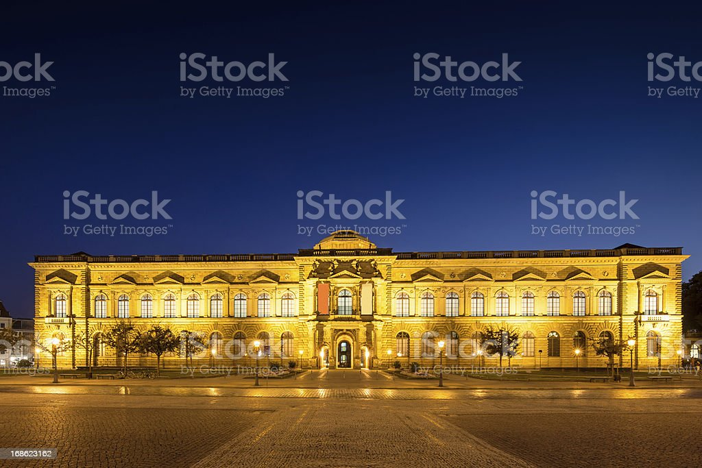 Dresden Semper Gallery Zwinger at Night royalty-free stock photo